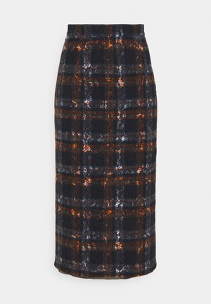 GONNA TESSUTO - Pencil skirt - nero/arancio
