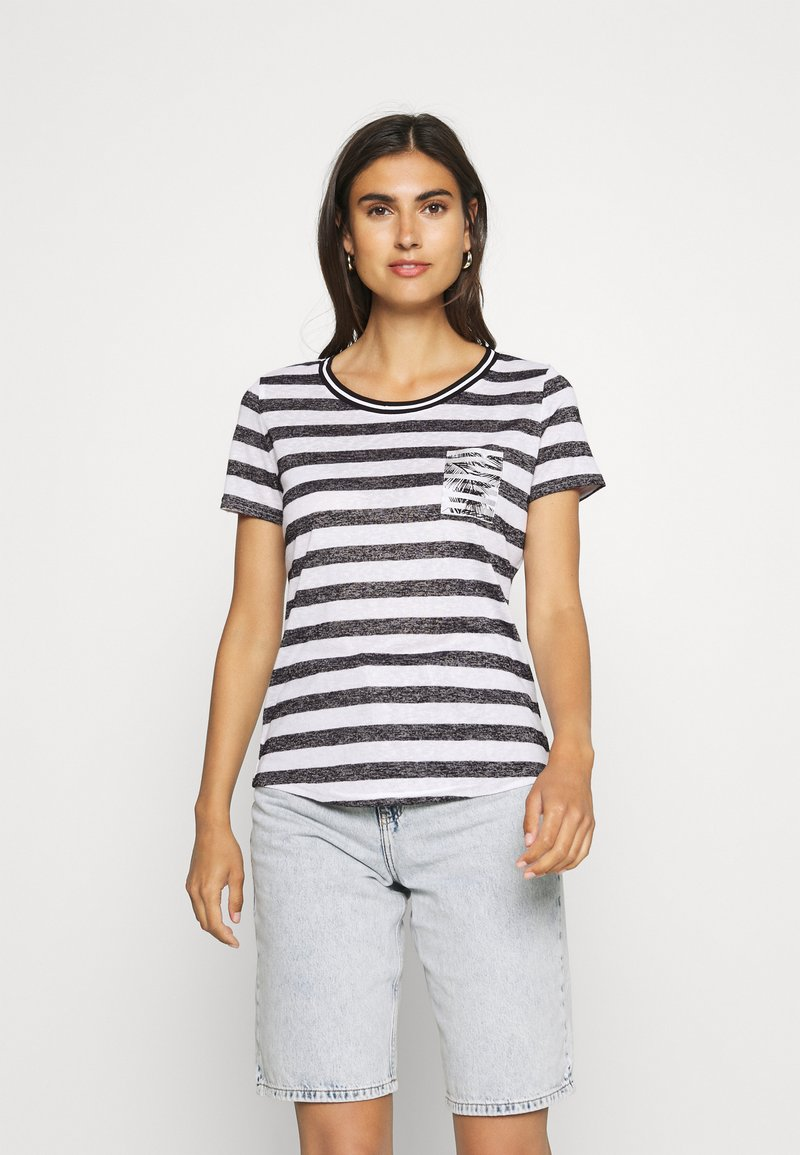 comma casual identity - Print T-shirt - black