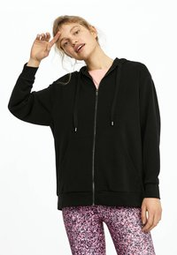 OYSHO - KAPUZENJACKE AUS WEICHEM STOFF 31791222 - Zip-up hoodie - black - 0