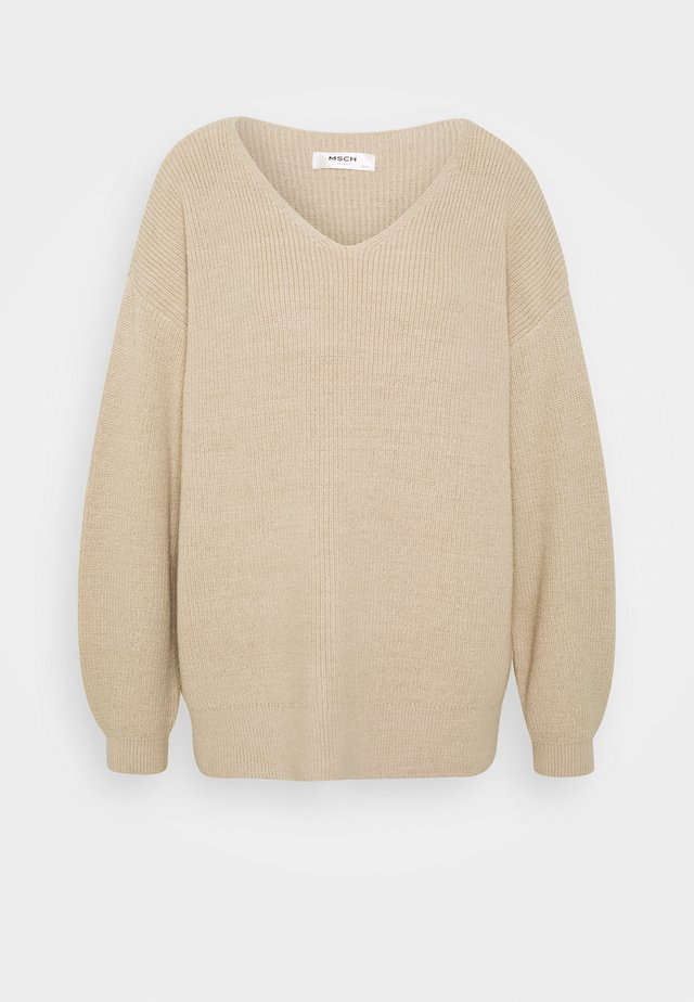 DALINA V NECK - Jumper - oatmeal