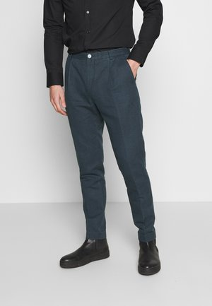 WASHED REGULAR FIT PANT - Suit trousers - blue