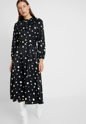 CREAM SPOT LONG SLEEVE MIDI - Day dress - black