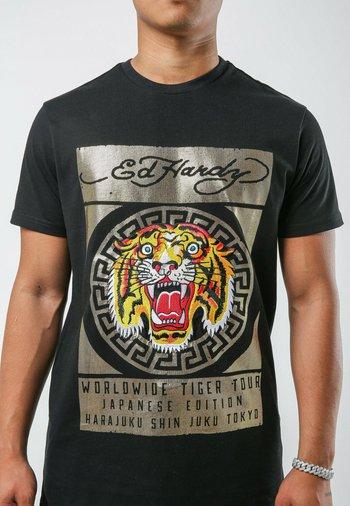 TILE-ROAR T-SHIRT - Print T-shirt - black