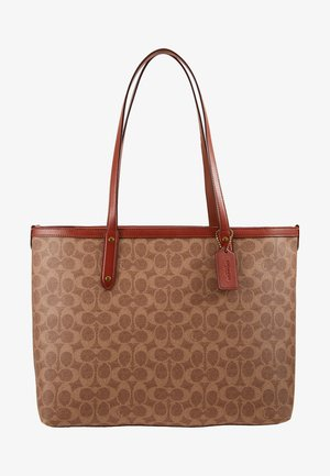 SIGNATURE CENTRAL TOTE WITH ZIP - Håndveske - tan/rust