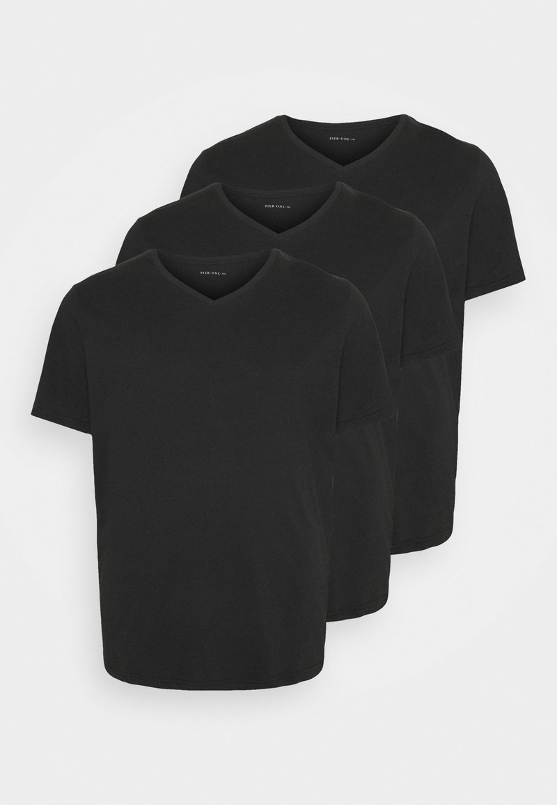 Pier One - 3 PACK - T-shirt basic - black