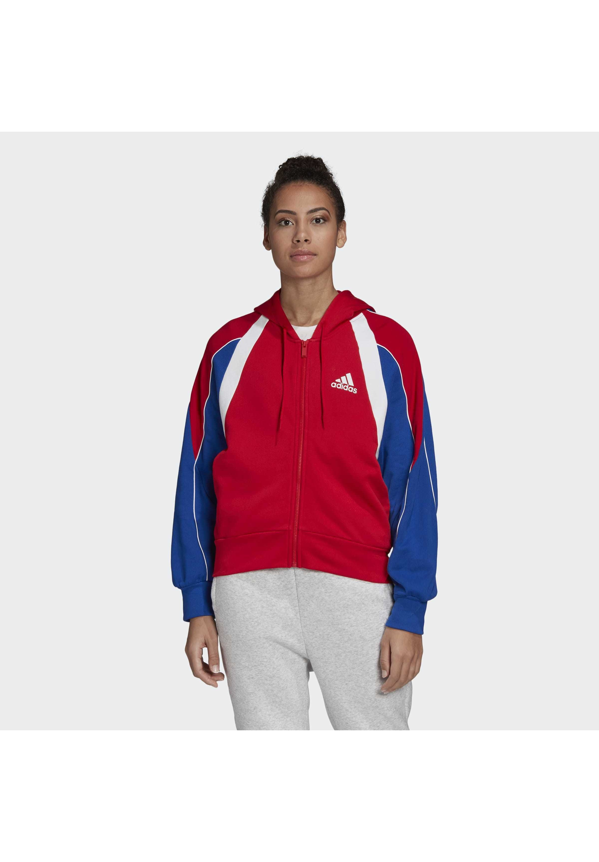 Outlet Store Women's Clothing adidas Performance COLORBLOCK FULL-ZIP HOODIE Zip-up hoodie red wWiYeRgvJ