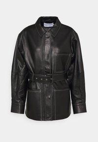 BELTED JACKET - Leather jacket - black