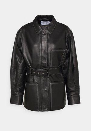 BELTED JACKET - Leren jas - black