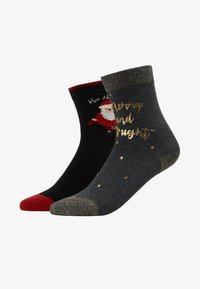 Pretty Polly - MERRY & BRIGHT PRINTED SOCK/SANTA SOCK - Ponožky - dark grey mix/black mix - 1