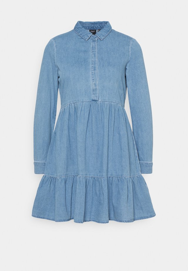VMMARIA FRILL SHORT DRESS - Spijkerjurk - light blue denim