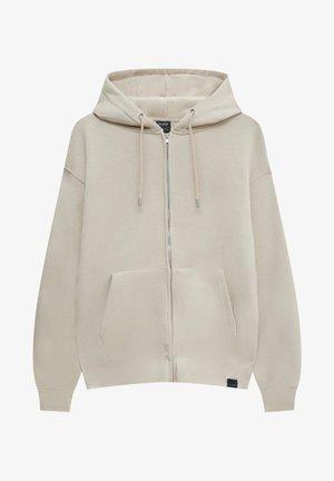 MIT REISSVERSCHLUSS UND KAPUZE - Zip-up sweatshirt - beige