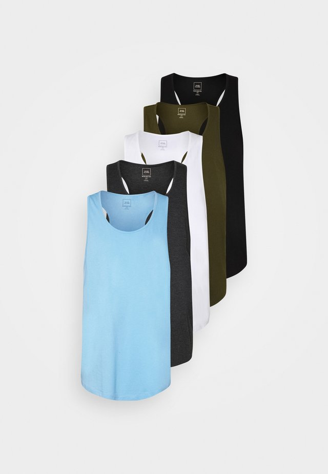 5 PACK - Débardeur - white/dark grey melange/light blue/khaki/black