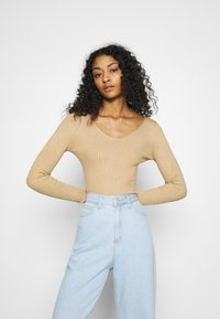 Even&Odd - BASIC- V-neck jumper - Svetr - sand - 3