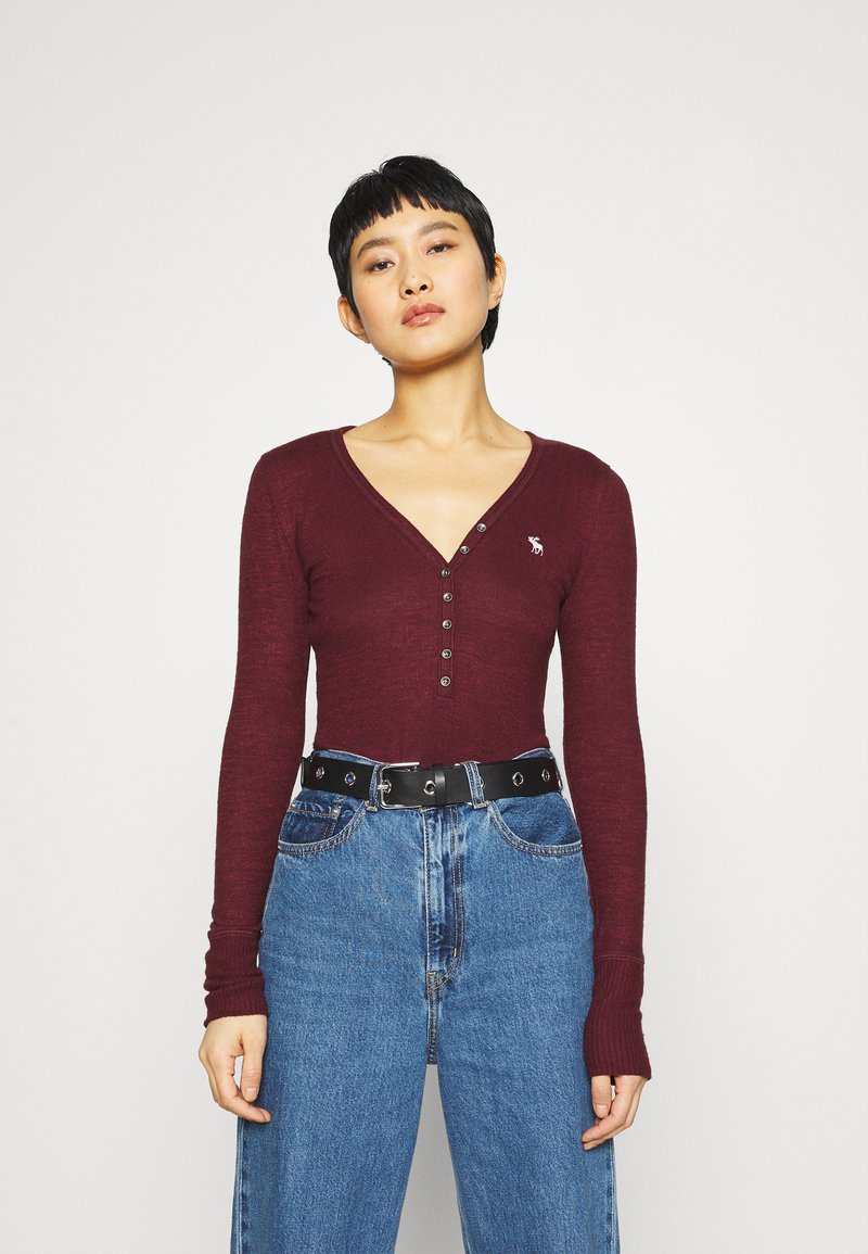 Abercrombie & Fitch - COZY HENLEY  - Long sleeved top - burgundy