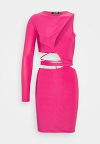 Missguided - SLINKY ONE SHOULDER CUT OUT - Cocktail dress / Party dress - hot pink - 4