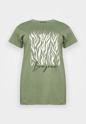 BONJOUR FOIL  - Print T-shirt - khaki