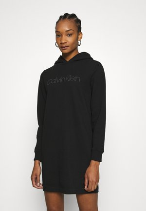 HOODED STUD DRESS - Day dress - black