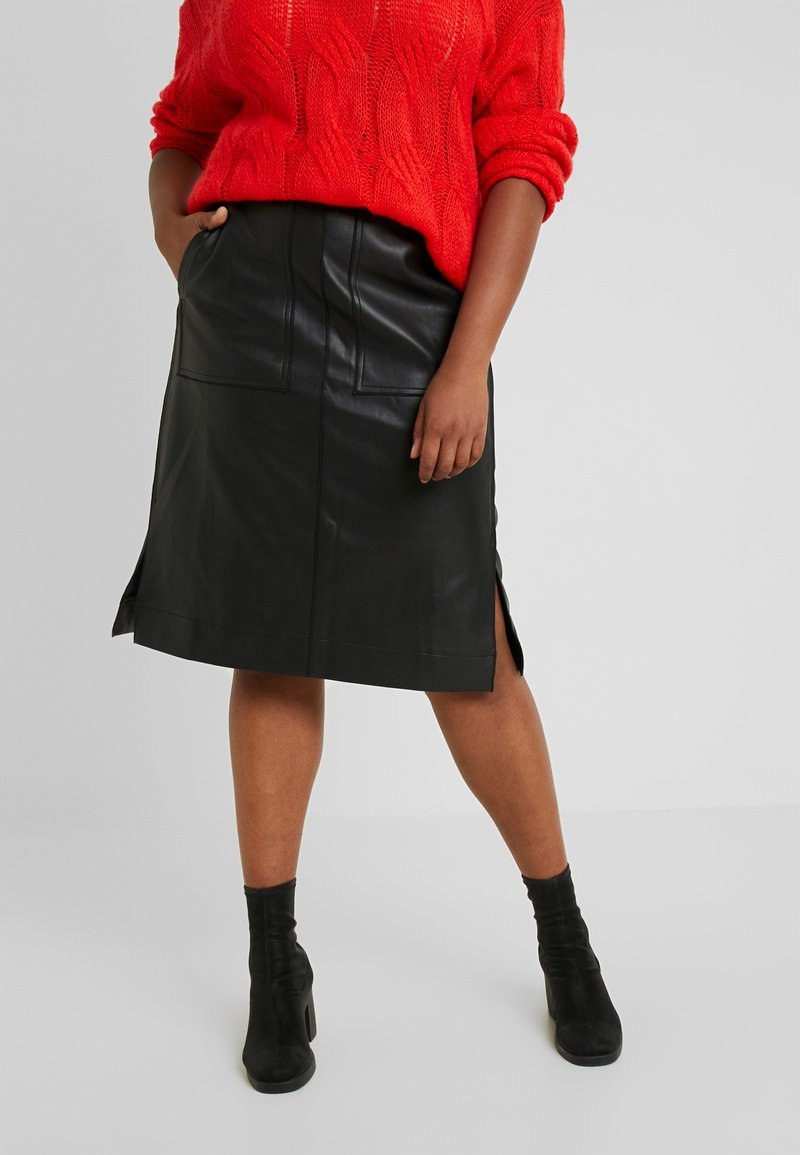 Lost Ink Plus - SKIRT WITH POCKETS - A-line skirt - black