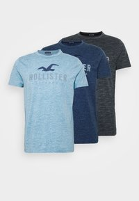 Hollister Co. - TONAL GRAPHIC 3 PACK - T-shirt con stampa - light blue/blue/black - 5