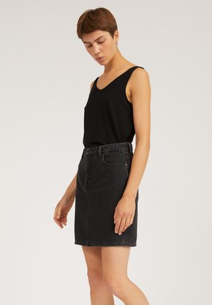A-line skirt - washed down black