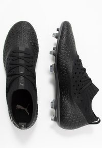 Puma - FUTURE 4.2 NETFIT FG/AG - Moulded stud football boots - black/aged silver - 1