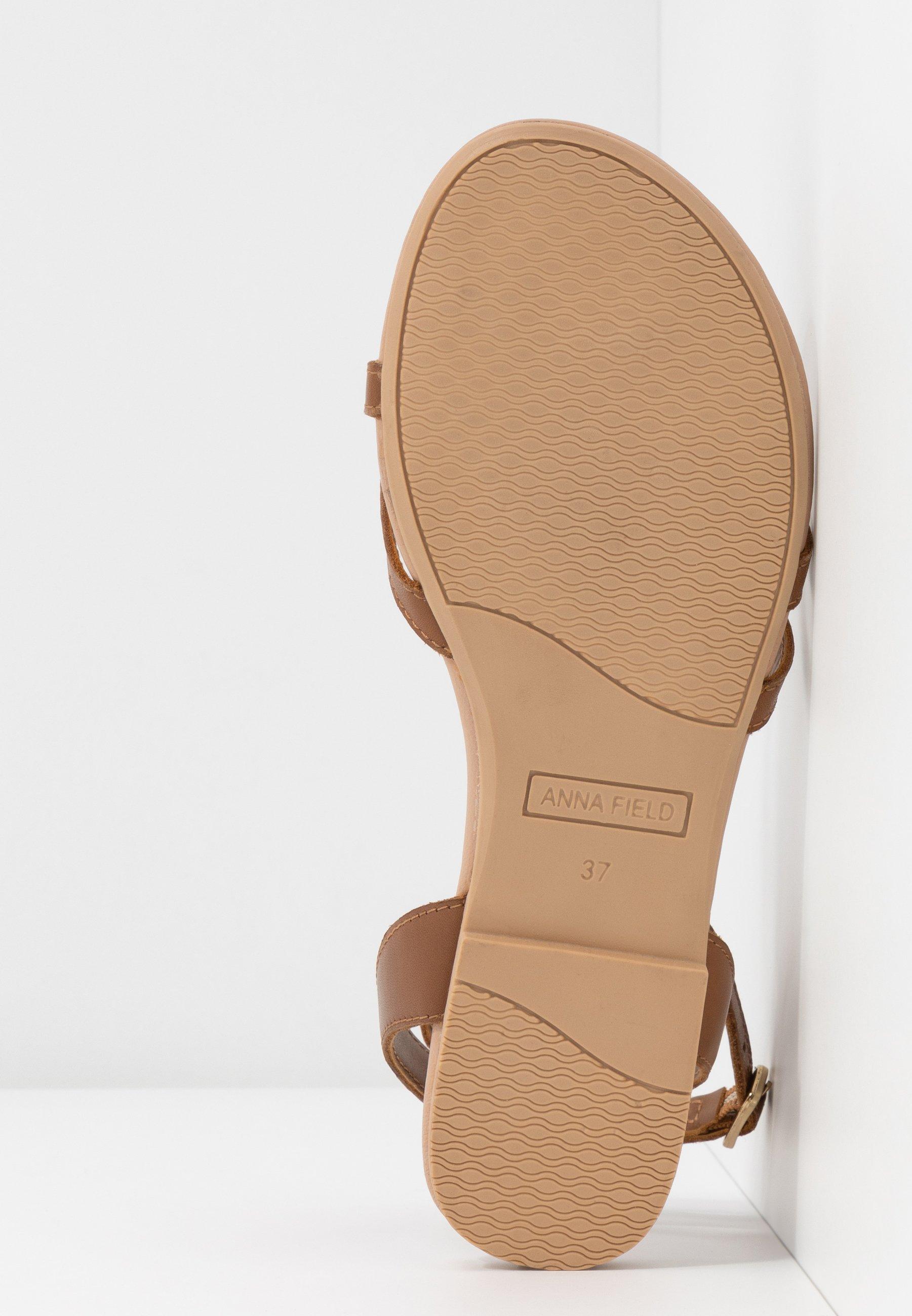 Anna Field Leather - Sandaler M/ Tåsplit Cognac