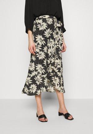 STARBURST FLORAL WRAP SKIRT - Spódnica trapezowa - black/white