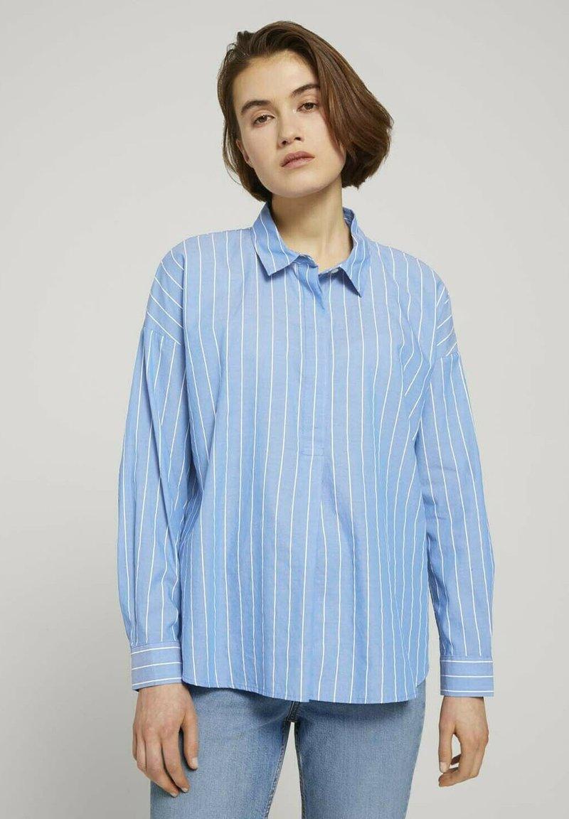 TOM TAILOR DENIM - Button-down blouse - mid blue small white stripe