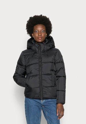 SHORT PUFFER WITH HOOD - Winter jacket - deep black
