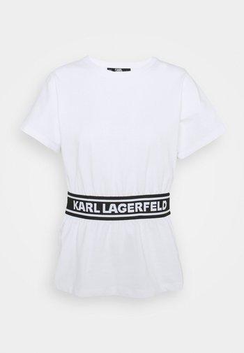 LOGO TAPE - Print T-shirt - white