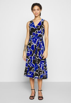 CARANA SLEEVELESS DAY DRESS - Jerseyjurk - black/regal sapphire/col cream