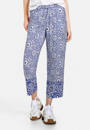MIT BATIKMUSTER ECOVERO - Trousers - blau/offwhite