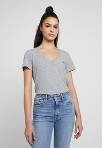 Levi's® - PERFECT VNECK - T-shirt z nadrukiem - heather grey - 0