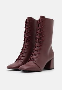 Monki - VEGAN THELMA BOOT - Lace-up boots - whine red - 2