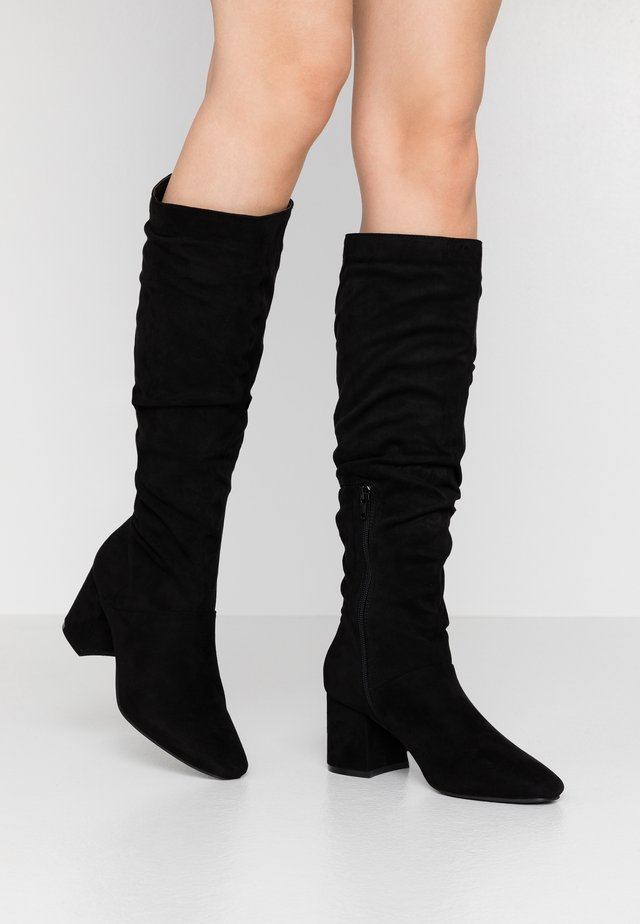 WIDE FIT SLOUCHY KNEE HIGH BOOT - Bottes - black