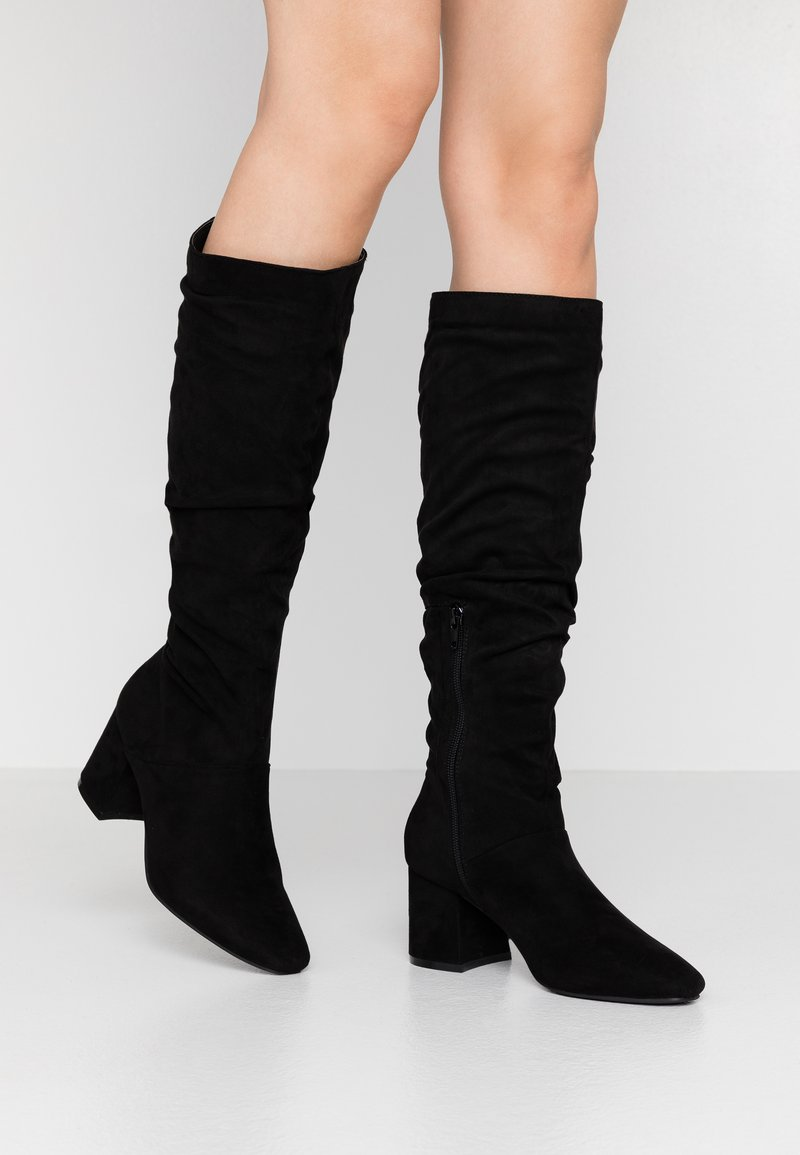 Lost Ink Wide Fit - WIDE FIT SLOUCHY KNEE HIGH BOOT - Kozaki - black