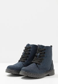 TOM TAILOR - Lace-up ankle boots - navy glitter - 3