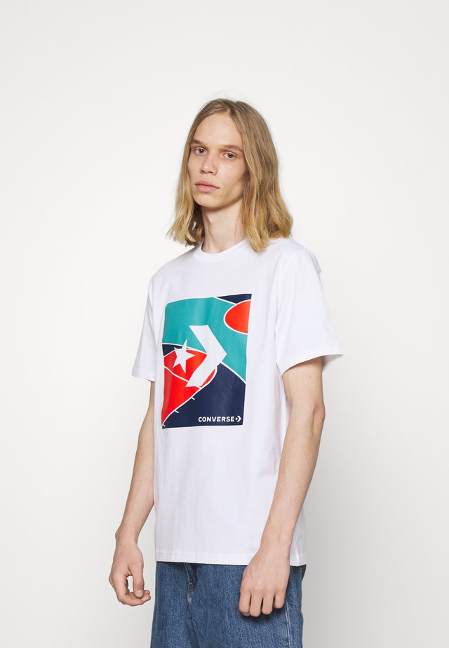 COLORBLOCKED COURT SHORT SLEEVE TEE - T-shirt con stampa - white