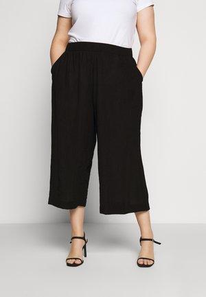 CULOTTE CRINKLE LOOK - Trousers - deep black