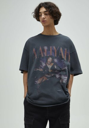 Print T-shirt - mottled black