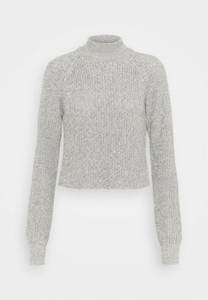 CROPPED PERKIN NECK - Strikkegenser - light grey melange
