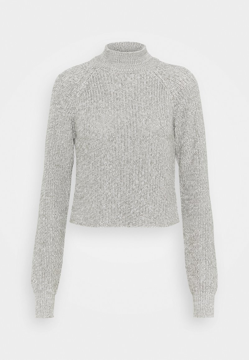 Even&Odd - CROPPED PERKIN NECK - Svetr - light grey melange