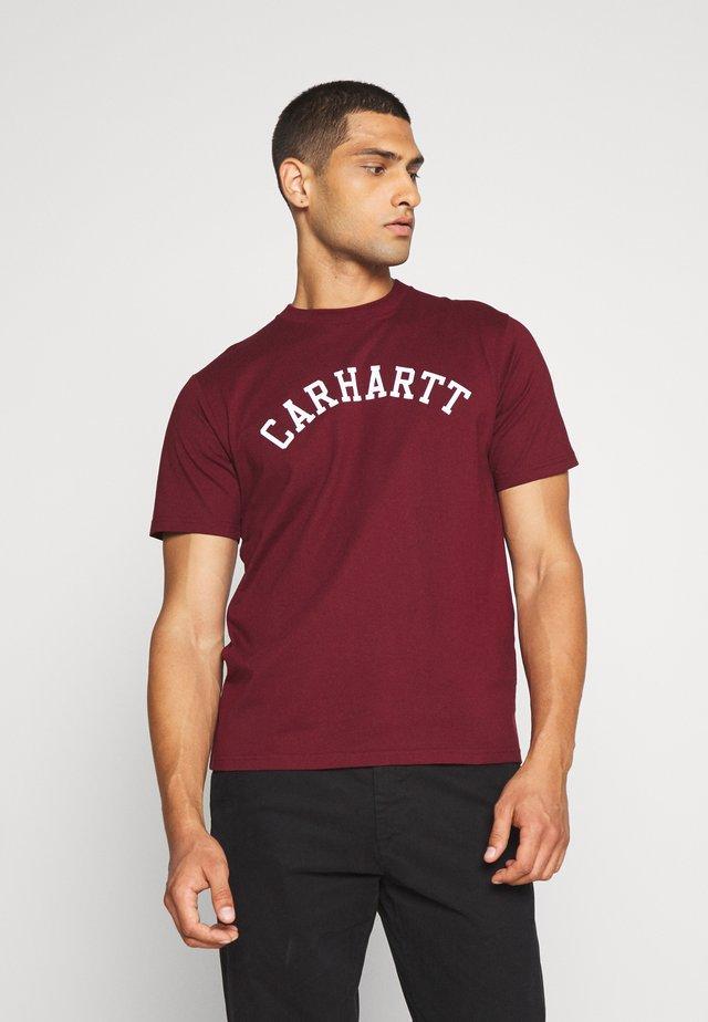 UNIVERSITY  - T-shirts med print - bordeaux / white