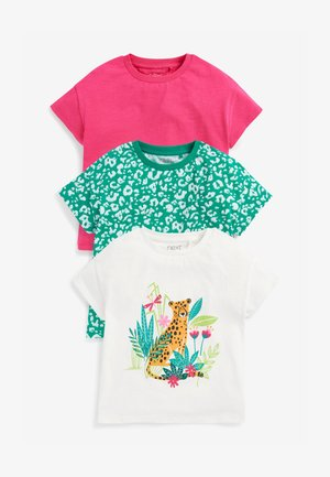 3 PACK - Print T-shirt - green, pink, white