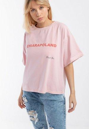 T-SHIRT OVERSIZE THANK YOU - T-shirt z nadrukiem - pink