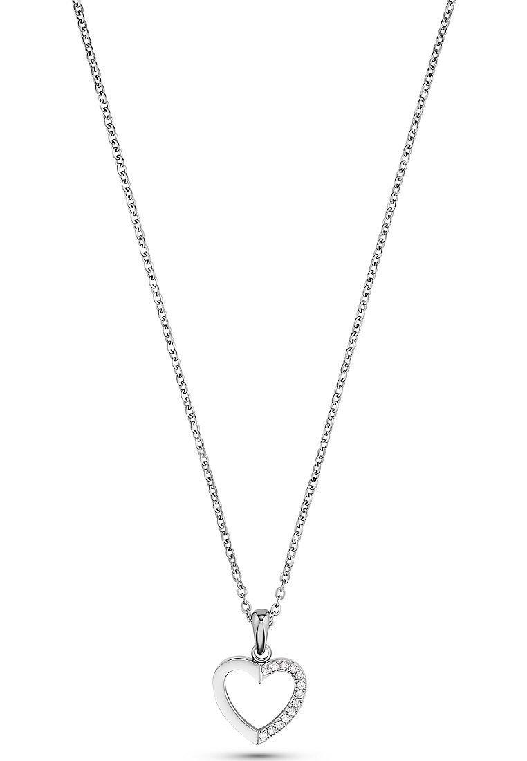 FAVS - FAVS. DAMEN-KETTE EDELSTAHL 13 ZIRKONIA - Necklace - silver