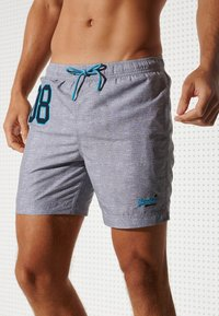 Superdry - POLO SWIM - Swimming shorts - silver grey grit - 1