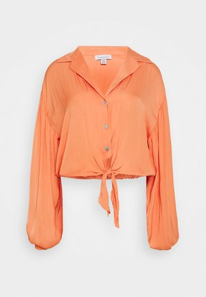 TIE FRONT - Blouse - coral