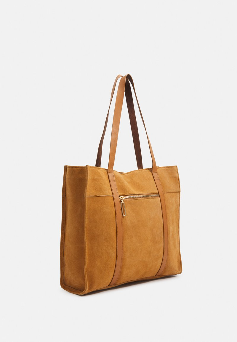 Zign - LEATHER - Tote bag - curry