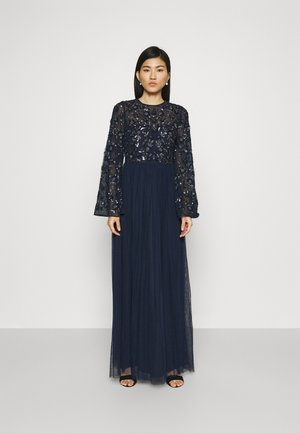 FLORAL EMBELLISHED BELL SLEEVE MAXI DRESS - Vestido de fiesta - navy